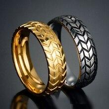 Or argent couleur acier inoxydable Cool moto pneus anneaux pour hommes Hip Hop Punk Biker anneau géométrique rayé bague de mariage