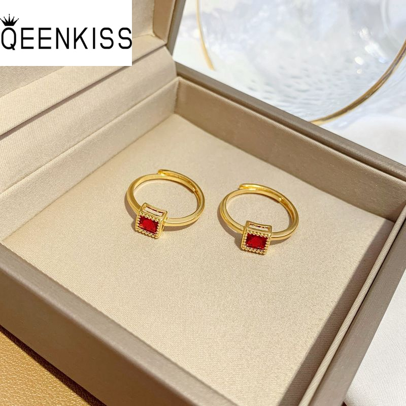QEENKISS RG5140 Fine Jewelry Wholesale Fashion Woman Bride Girl Birthday Wedding Gift Square AAA Zircon 24KT Gold Resizable Ring