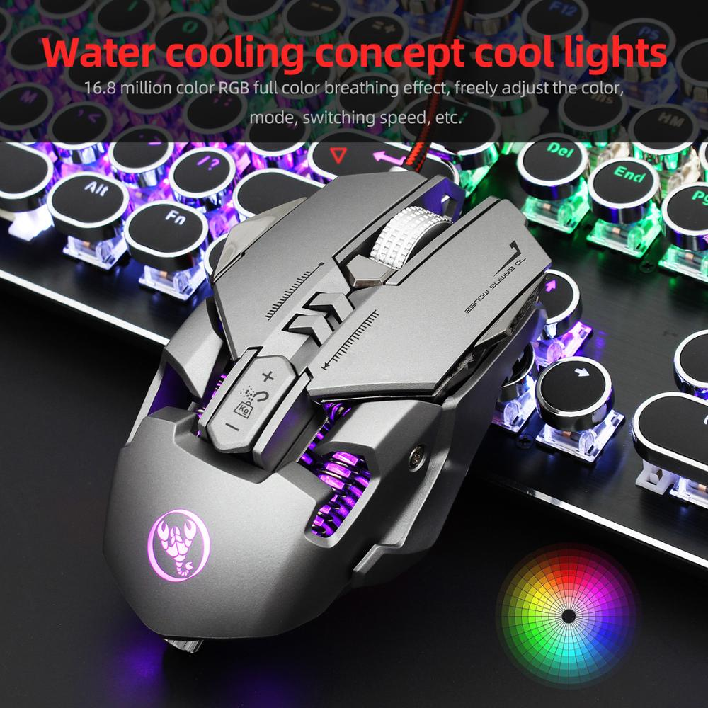 Wired Gaming Mouse Computer Game Mouse Ergonomic Gamer Mice 6400 DPI Silent Mouse Optical Backlight PC Mause 7 Button For Laptop