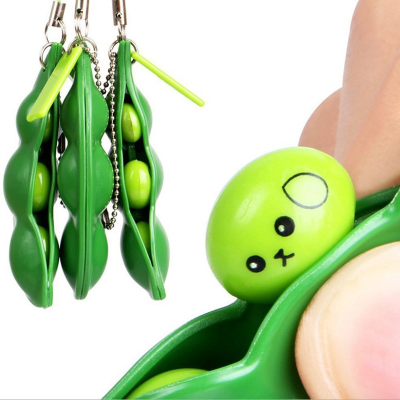 50PCS Fidget Toy Beans Blue Red Wholesales Lot Decompression Edamame Squishy Squeeze Peas Stress Rubber Keychain Squeeze Sensor