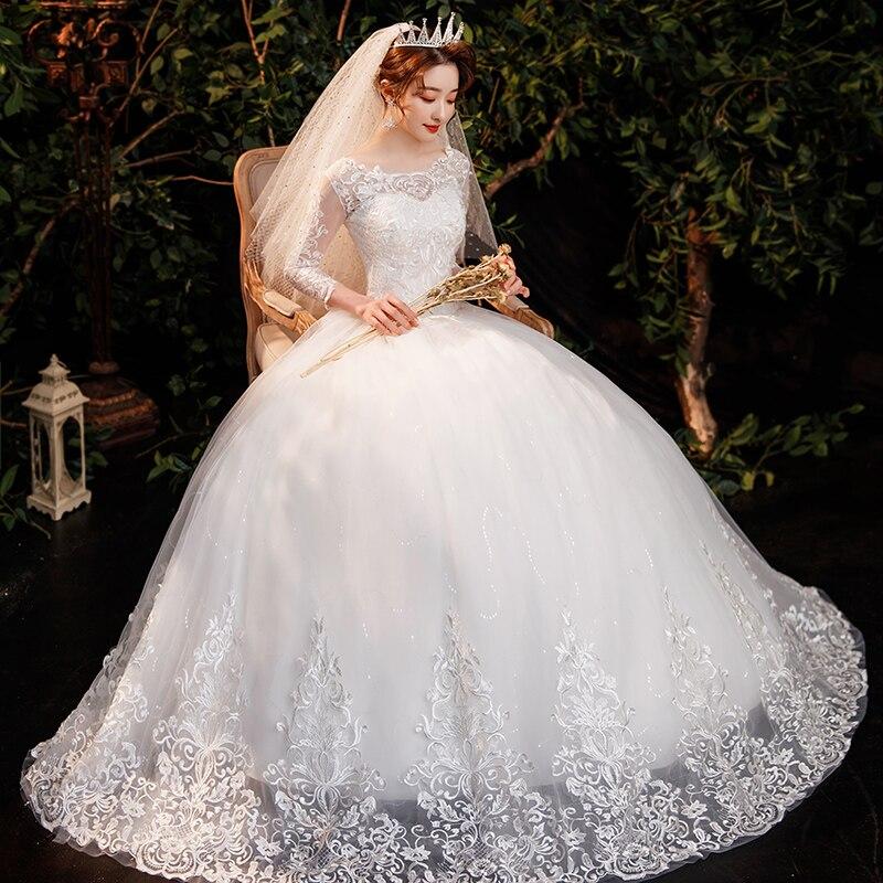 فستان زفاف فاخر بأكمام طويلة ، مقاس كبير ، دانتيل مطرز ، ثوب كرة أنيق ، مجموعة جديدة