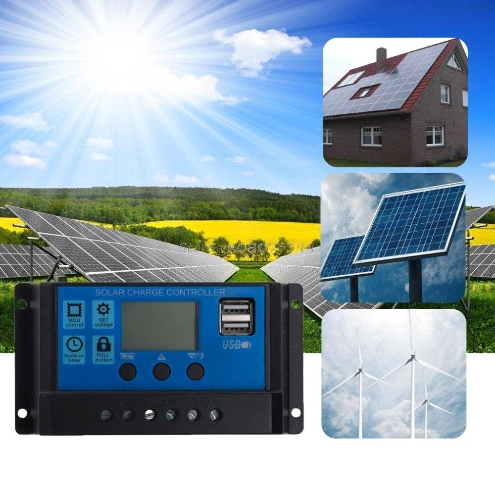 pwm 10 20 30a dupla usb painel solar regulador de bateria controlador carga 12 24