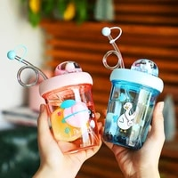 small micro landscape revolving cup girl student personality creative water cup cartoon lovely plastic straw cup