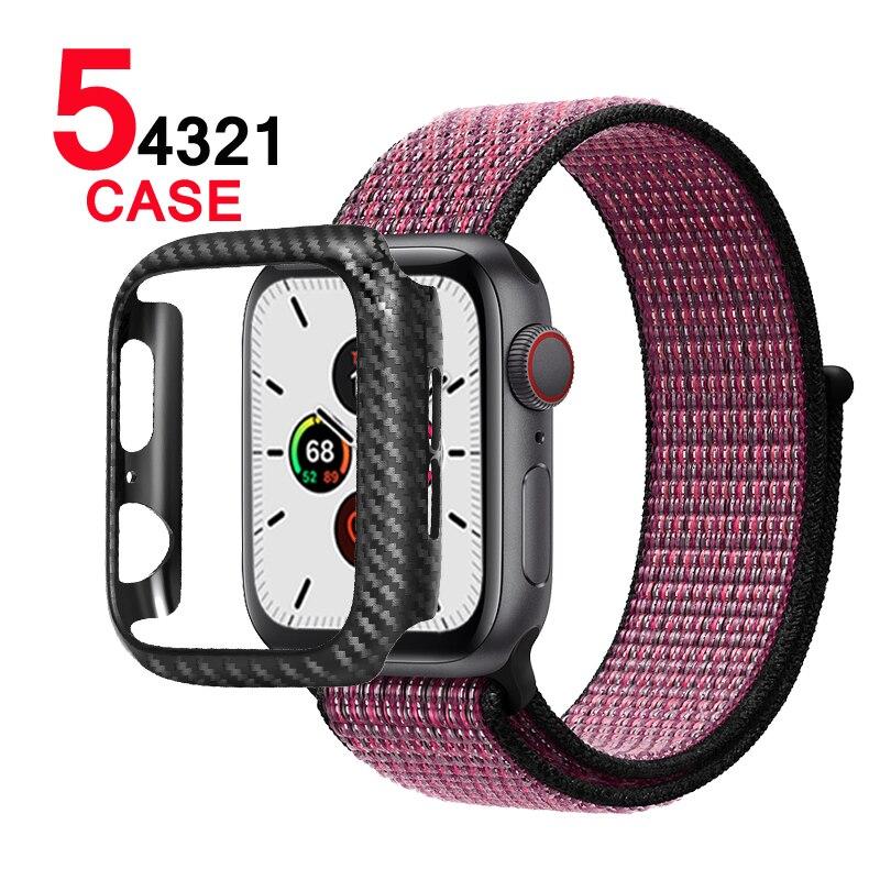 Carcasa protectora de carbono para Apple Watch 5 4 bandas 44mm 40mm 42mm 38mm cubierta de reloj parachoques para iwatch series 3 2 accesorios