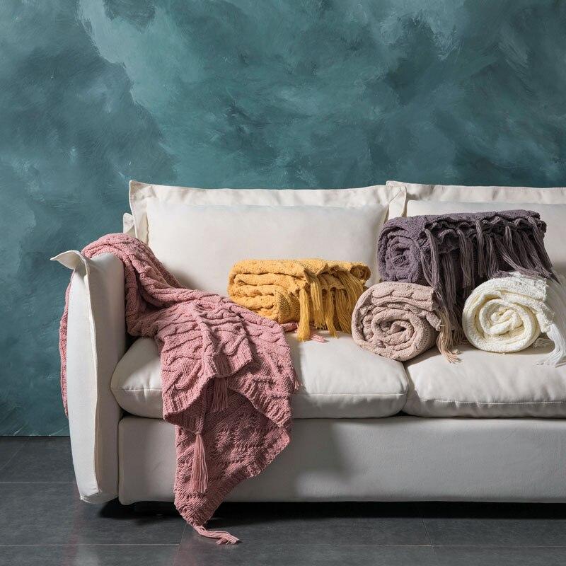 بطانية منسوجة على الطراز الاسكندنافي ، لون أصفر ، لراحة المكتب ، غير رسمي ، عصري ، على الإنترنت ، أريكة ، ديكور منزلي