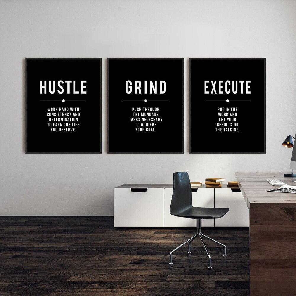 Grind Hustle выполнение художественная стена с цитатой холст печать офис Декор мотивационное современное искусство предприниматель мотивация к...