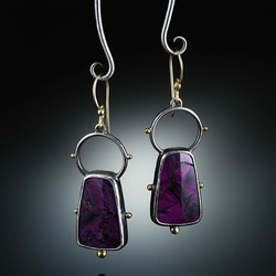 Senhoras moda trapézio geométrico roxo pedra brincos tribal jóias oco círculo gancho de metal artesanal balançar brinco p4d370