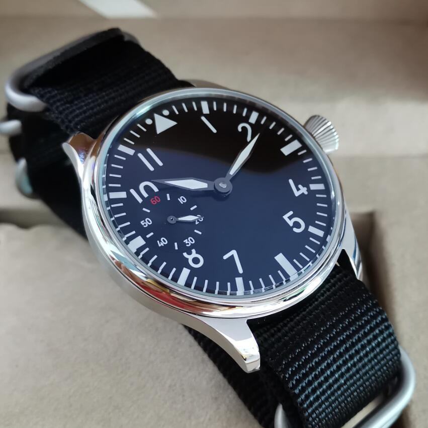 44mm Pilot not have logo Mechanical Hand Wind Men's Watch Black dial Mineral Glass/Sapphire Seagull