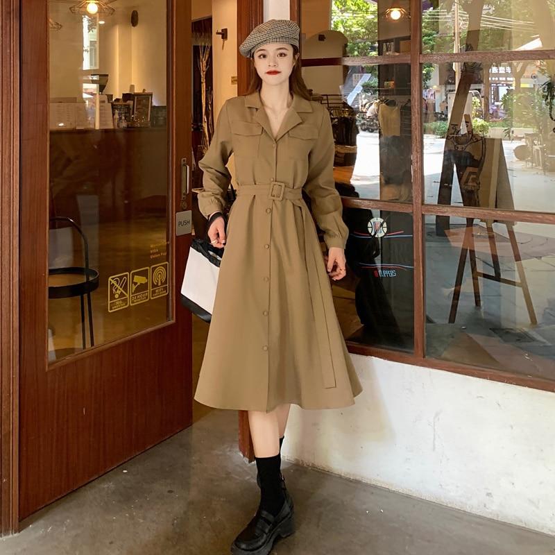Miss Trench Coat Dress CocoLi New Style Temperament, Slim Waist, Design Sense, Minority Suit Collar