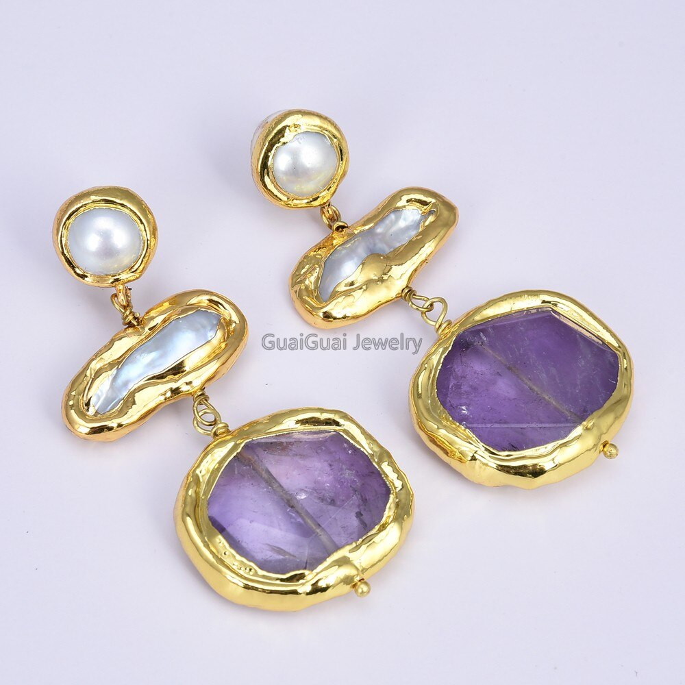 GG Jewelry Freshwater White Biwa Pearl Amethyst Earrings
