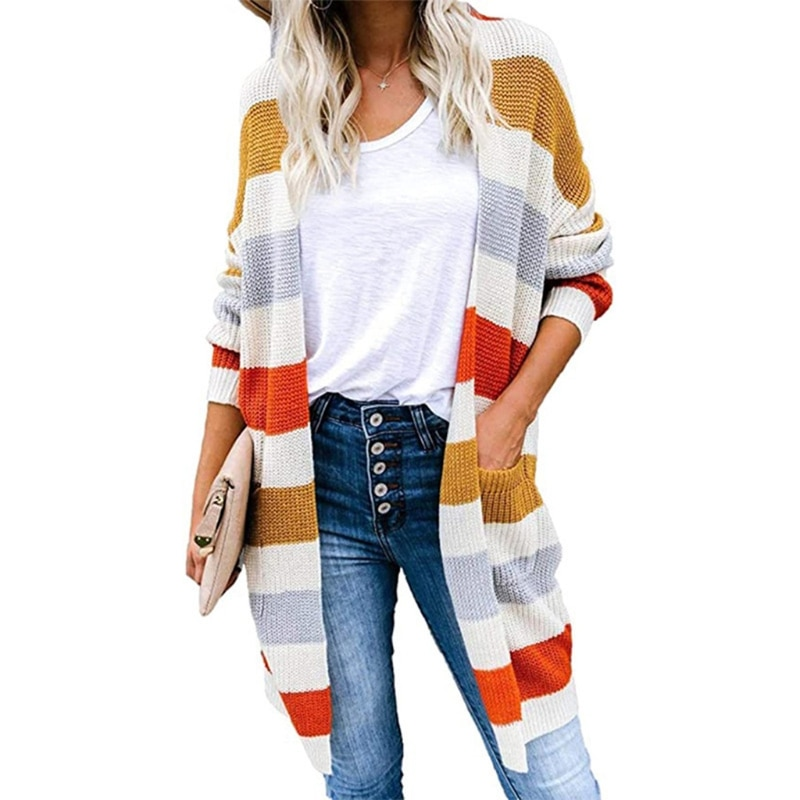 Women Color Block Striped Cardigan Long Sleeve Open Front Knitted Sweater Coat enlarge
