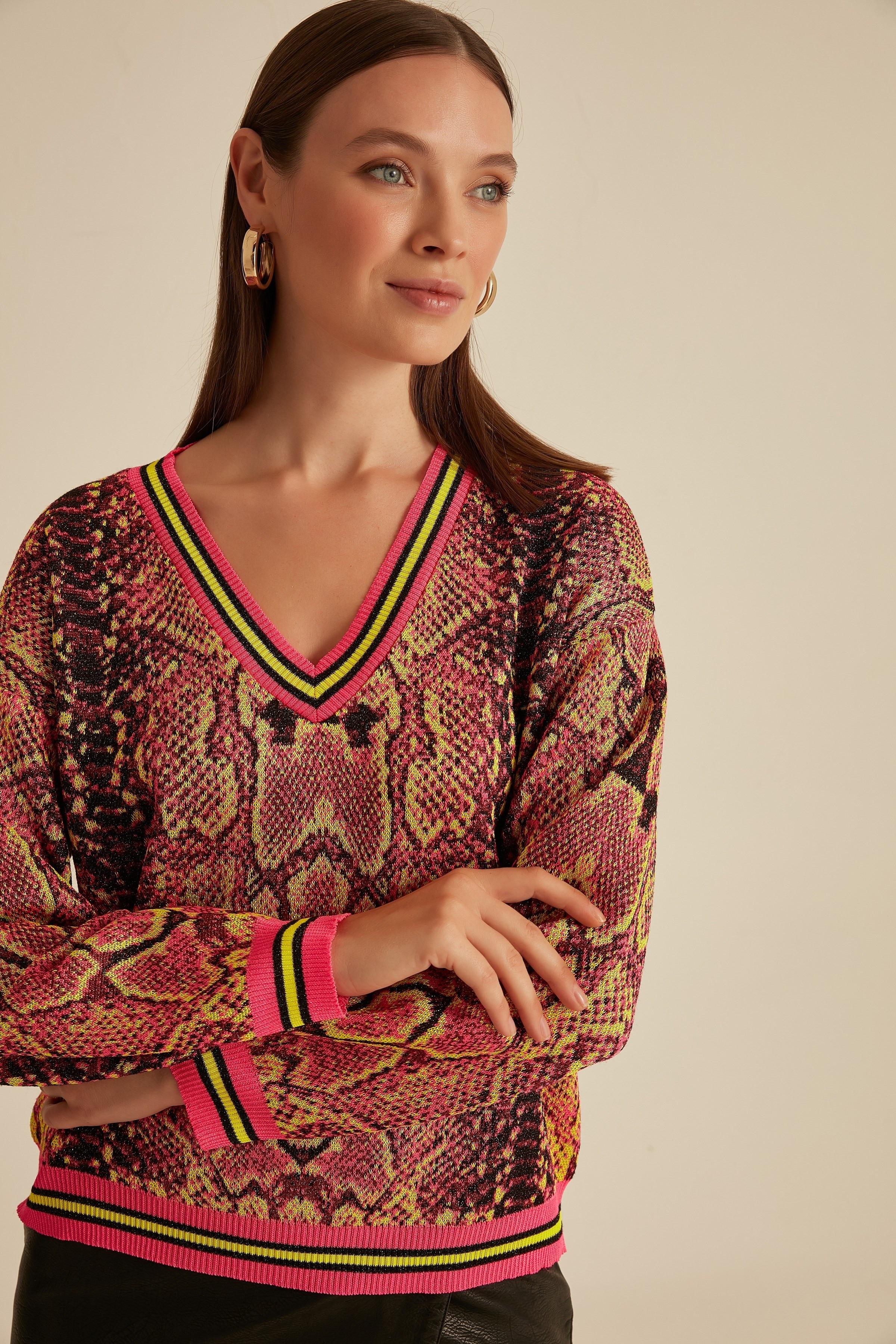 Snake Pattern V-Neck Neon Multi Sweater Sweater-Neon Multi