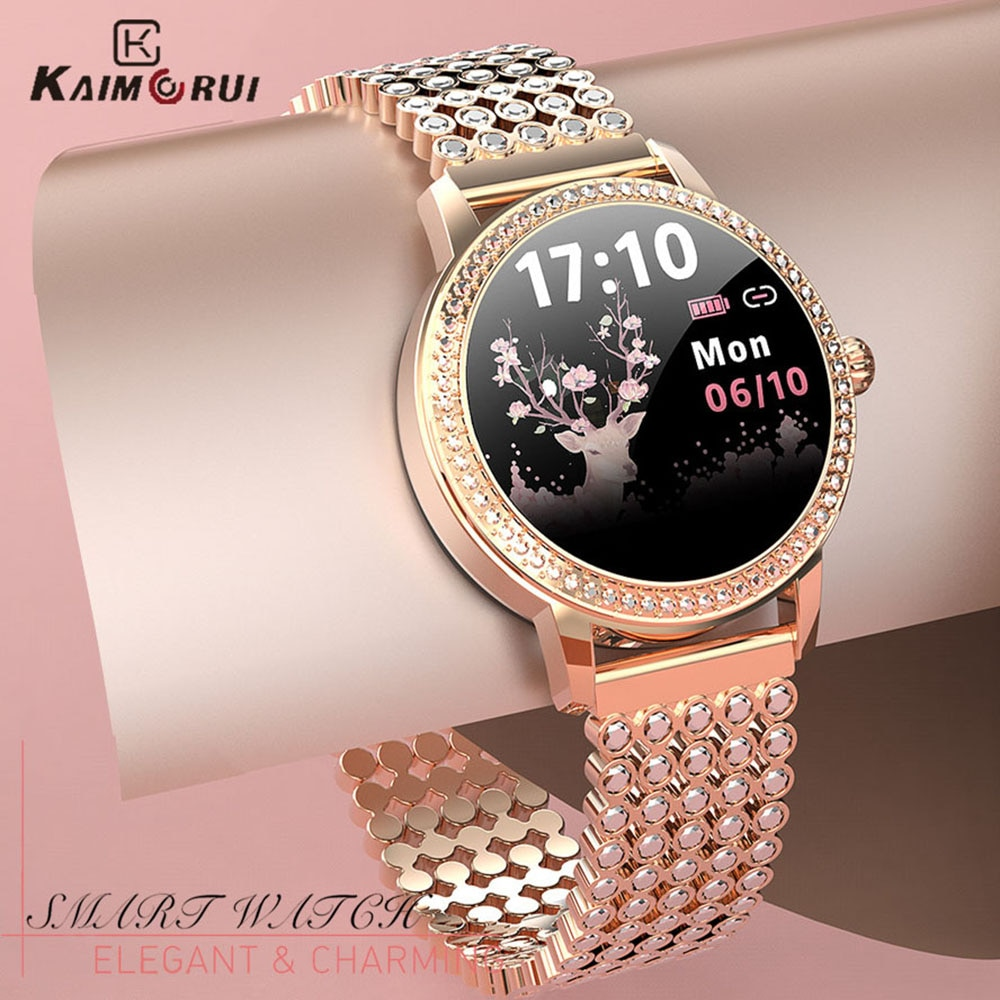 الماس رصع ساعة ذكية 2021 للنساء جميل الصلب الرياضة ساعة IP68 مقاوم للماء سوار لياقة بدنية معدل ضربات القلب LW20 Smartwatch
