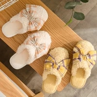 lovely women fur slippers indoor outdoor winter bow non slip fluffy slippers for girls casual female bedroom couples shoes