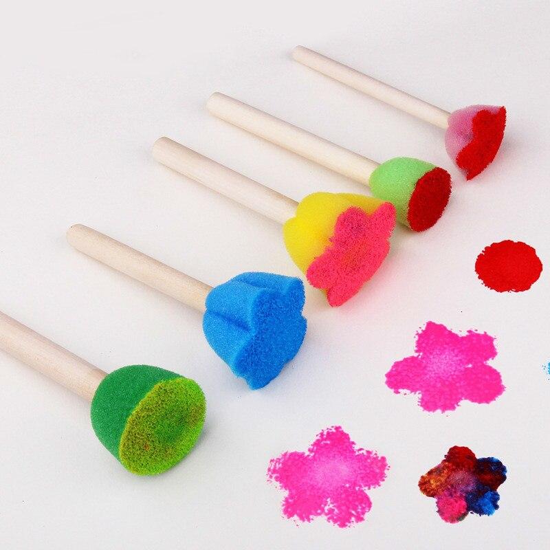 5 piezas herramienta de pintura DIY para niños Color Mini esponja cepillo sello Opp bolsa embalaje colorido esponja mango de madera hecho a mano por bebé