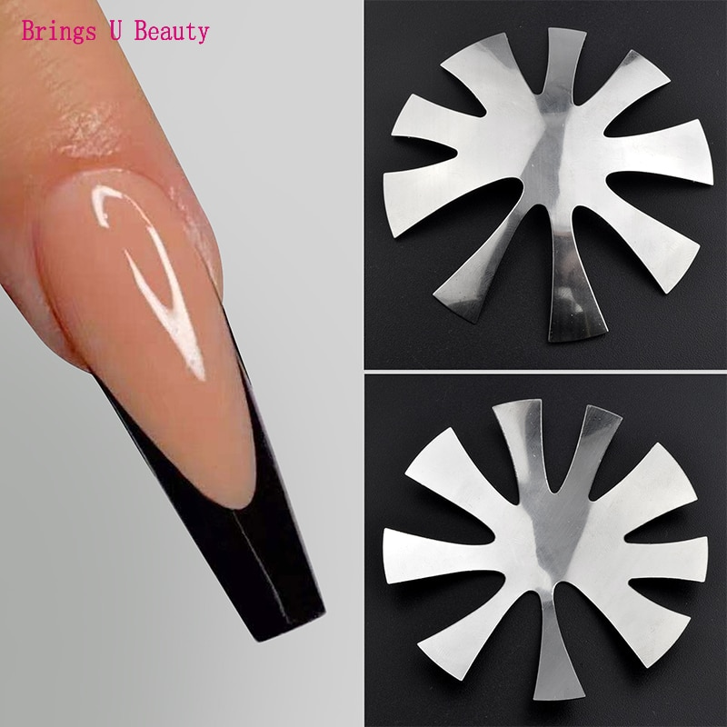 Pro 9 Size Almond shape Easy French Smile Cut V Line Tips Manicure Edge Trimmer Acrylic Nail Cutter