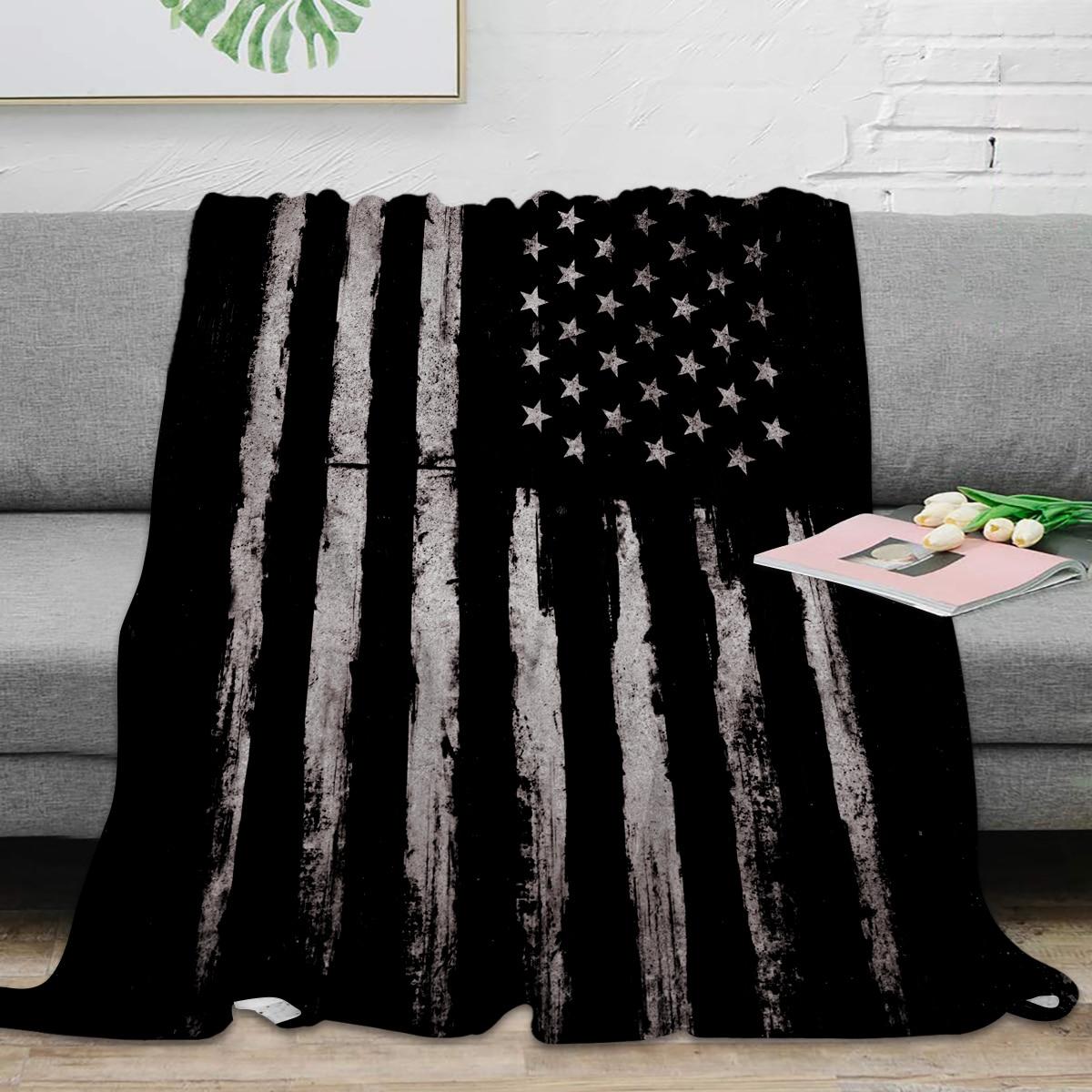 بطانية من الألياف الدقيقة مع العلم الأمريكي ، نمط الجرونج الأبيض ، الفانيلا ، دافئة