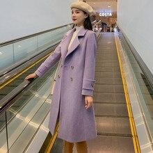 2019 nouveau manteau de laine à double boutonnage femmes automne hiver veste Long tempérament vêtements dextérieur couleur unie femme manteau de laine XIN114