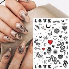 2020 Hot DIY Serpentine 3D Nail Art Sticker Adhesive Sticker Decals Tool Nail Art Wraps Decoration Black Snake Deisgn