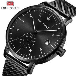 MINI FOCUS Man Watches 2021 Brand Luxury Simple Stainless Steel Watch Mens Fashion Quartz Watch Men Waterproof Black Watch Wrist