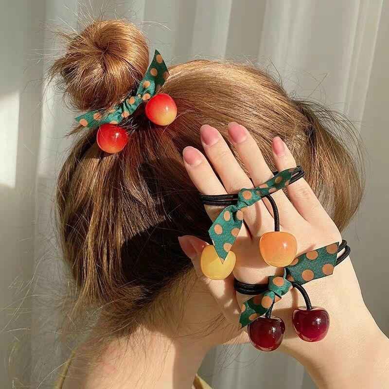 Hot Sale Creative Girls Bohemian Hair Ties Bow  Acrylic Cherry Flower  Bow Knot Elastic Rubber Bands