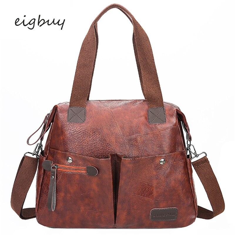 Women Female Messenger Bags Korean Style Big  Leather Casual Women Bag Woman Bag Shoulder Bag Black Vintage Bags Sac A Main