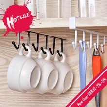 Preto/branco ferro 6 ganchos suporte de copo pendurado banheiro cabide organizador da cozinha armário porta prateleira de armazenamento removido rack decoração casa