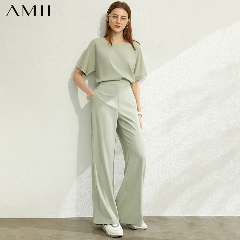 AMII Minimalism Spring Summer Fashion Fashion Women Set Solid Oneck Loose Women Blouse High Waist Loose Long Pant Suit 12020208