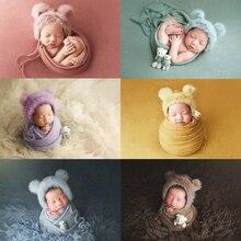 Conjunto de envolturas de fotografía para recién nacido, tejido para bebés, niños y niñas, accesorios para fotos, sombrero de piel sintética, manta elástica fuerte, muñeco de oso, 3 unids/set