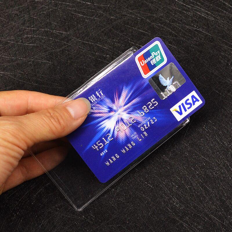 Funda de tarjeta de PVC transparente impermeable, funda de plástico de silicona para proteger tarjetas de crédito, funda de tarjeta de identificación