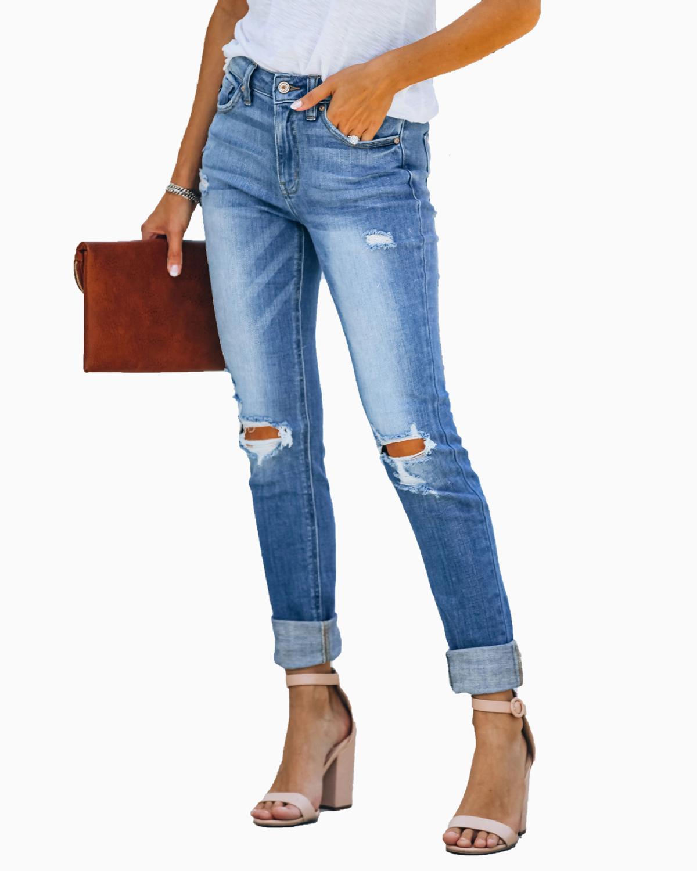 С высокой талией, женские облегающие джинсы повседневные джинсы женские джинсы с дырками, низ с джинсы для женщин в стиле ретро женские спор...