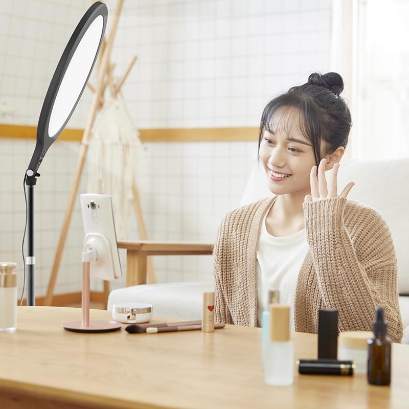 فيجيم K1 LED مصباح مصمم على شكل حلقة مع حامل ثلاثي القوائم إضاءة السليفي حلقة مصباح الفيديو الضوئي للبث المباشر يوتيوب ماكياج التصوير الفيديو