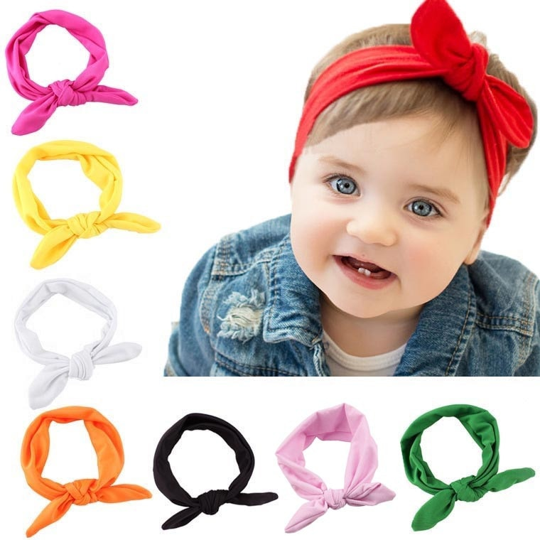 New Baby Headband Baby Hair Accessories Summer Solid Baby Girl Headbands Baby Rabbit Bow Ear Headband Turban Knot Head Wraps