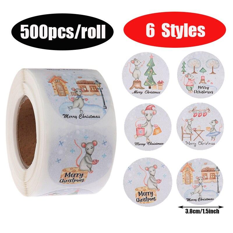 500 uds/rollo nueva moda colorida Feliz Navidad paquete etiqueta Scrapbooking suministros de papel para fiestas decoración del hogar