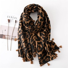 Qooth Fashion Women Leopard Print Scarf 180*100cm Leopard Stole Thin Cotton Warm Large Shawls and wraps foulard femme cachecol