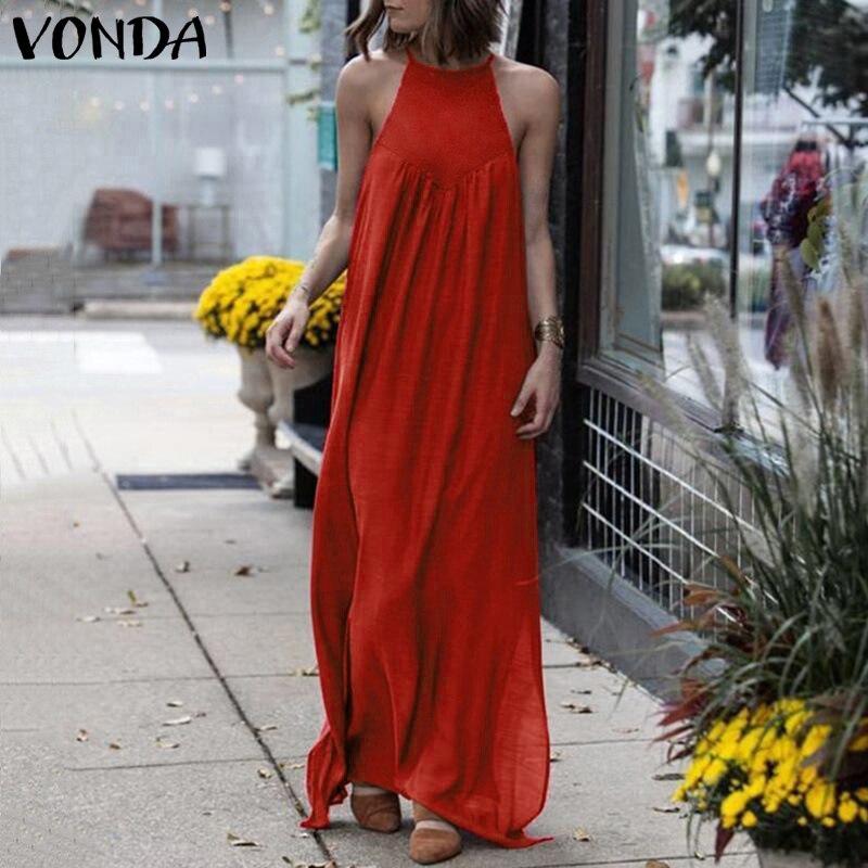 Spagetti kayışı Maxi Vestido bayan Sundress 2020 VONDA kadın rahat parti elbise Femme artı boyutu Bohemian elbise katı Robe Femme