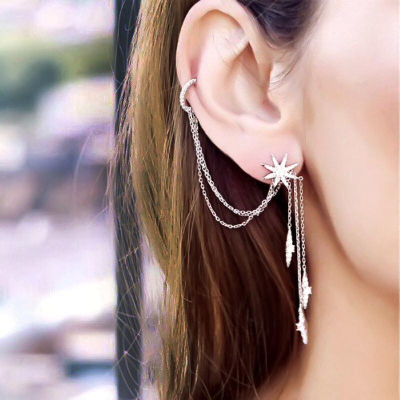 Slzely marca 925 prata esterlina fino designer micro zircônia cúbica longa borla estrela ab brincos moda feminina sexy jóias