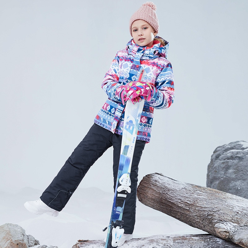 Winter Hooded Teenager Girls Ski Suit Outdoor Warm Children Snow Sets Windproof Baby Kids Sport Clothes Cotton Parkas Outfit enlarge