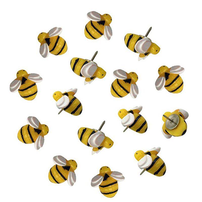30Pcs Creative Cute Bees Thumb Tacks ThumbNails PushPins Push Pins Soft Flat for Photos Wall Maps Bulletin Board Corkboards