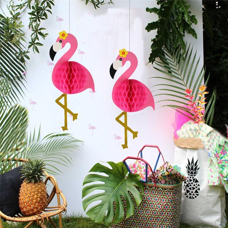 Decoración DIY de fiesta en 3D, decoración de flamenco, boda, flamenco, linterna, adornos de papel, panal, flamenco, decoración de fiesta de boda, navidad