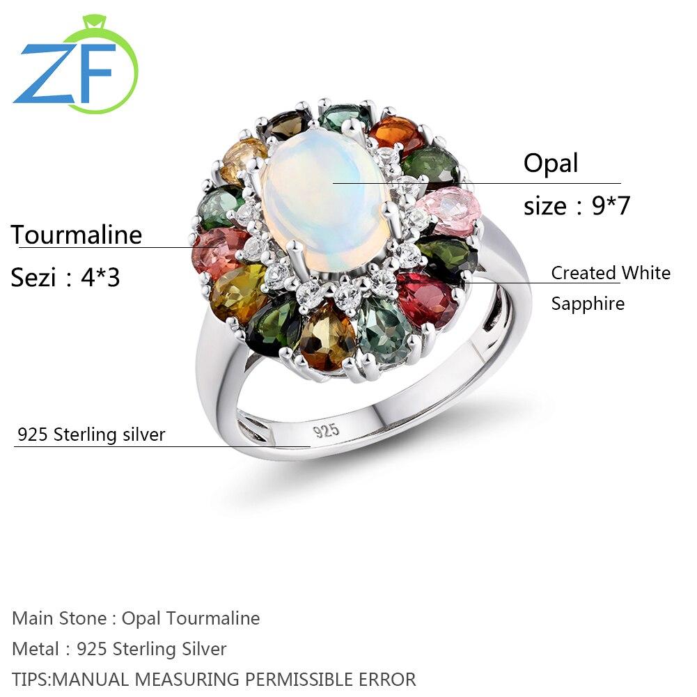 GZ ZONGFA Vintage Opal Rings For Women 925 Sterling Silver Tourmaline Rainbow color Jewelry Gift Best Friend