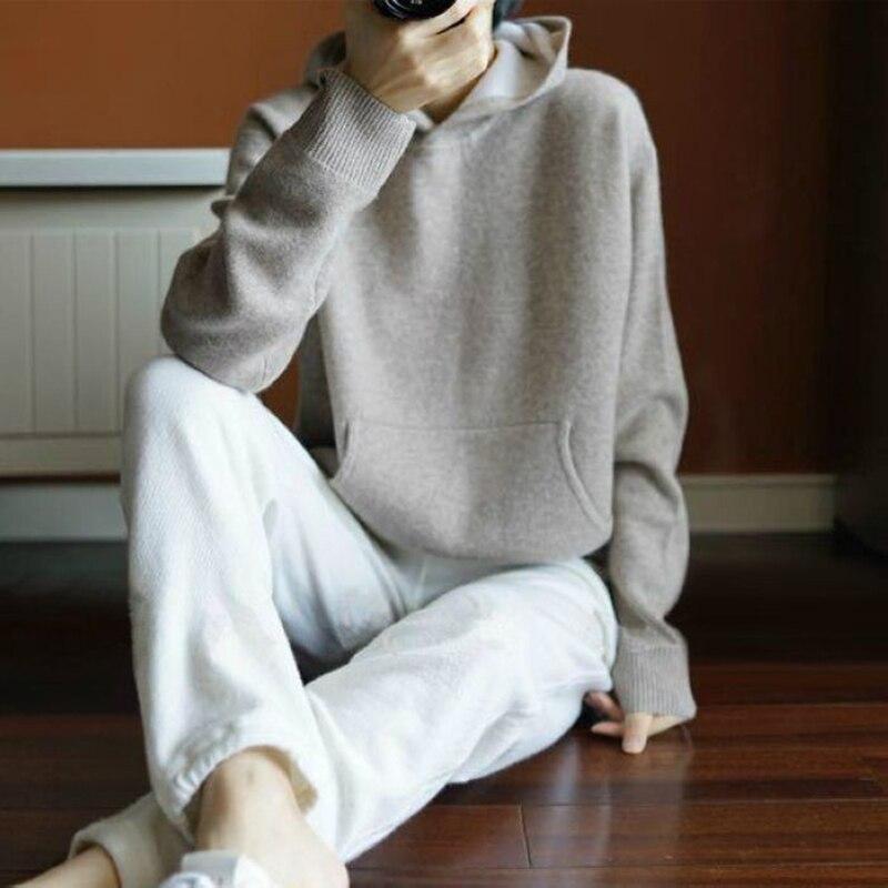 Весенне-зимний кашемировый шерстяной свитер, женские свитера, вязаные теплые женские джемперы с капюшоном и карманами
