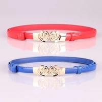 elegzo womens leather belt high quality fashion solid color skirt thin belt female pu waistband hot selling