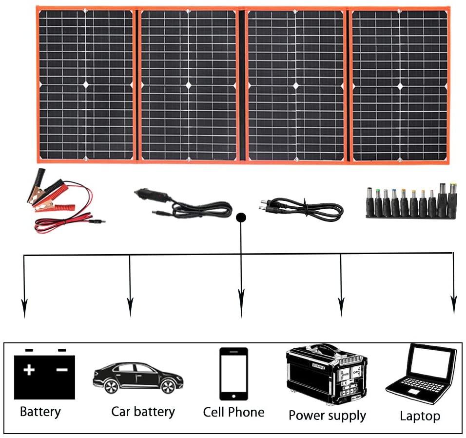 لوح شمسي جهدي ضوئي قابل للطي محمول 18 فولت 40 وات 60 وات 80 وات 100 وات 150 وات طقم ألواح فولطية شاحن بطارية هاتف