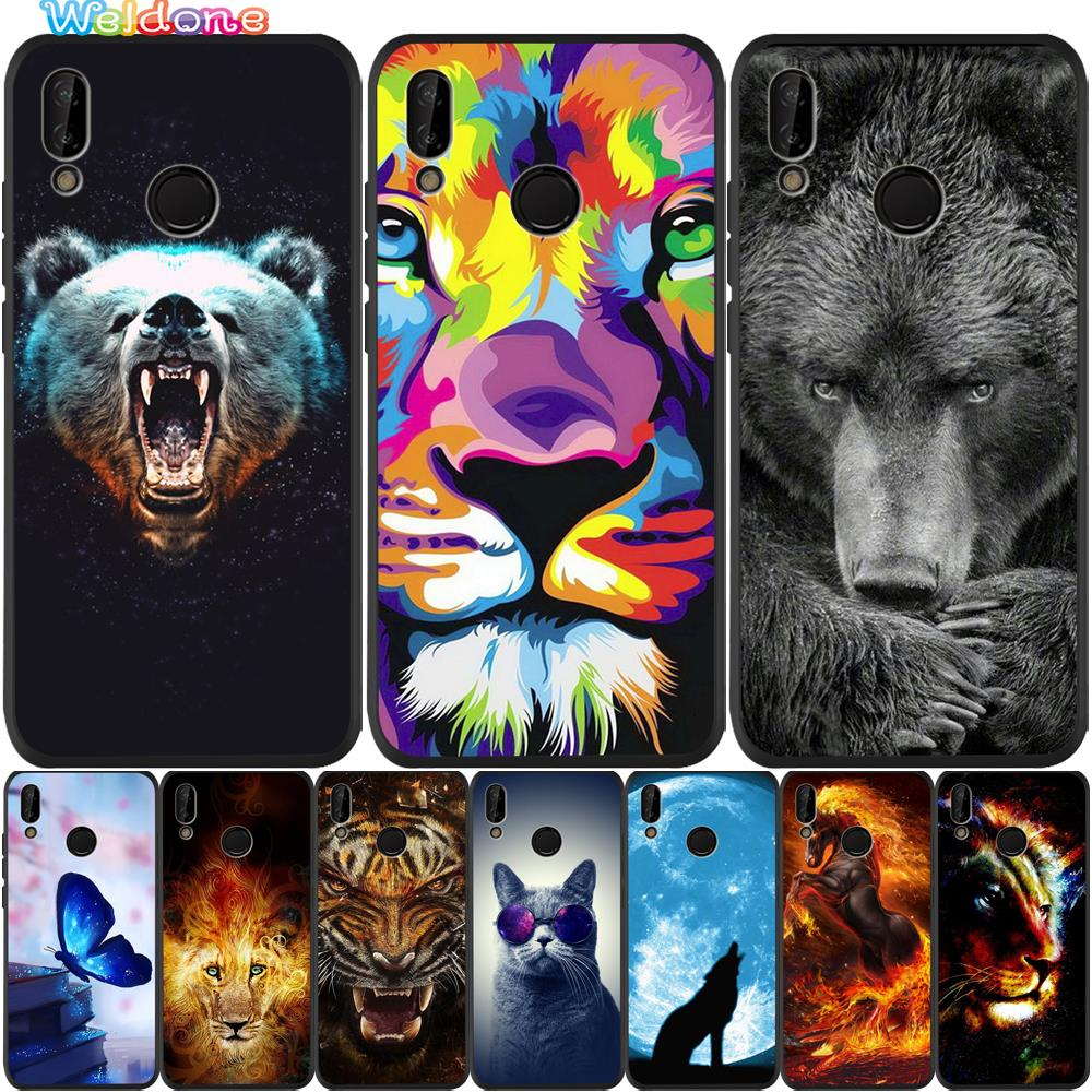 Moda animal oso negro León tigre negro Funda de teléfono para Huawei honor 8 9 10 Lite honor 9X20 Pro P funda suave inteligente Etui
