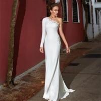 new one shoulder mermaid wedding dresses lace appliques elegant beaded bridal gowns beach robe de mariage spring