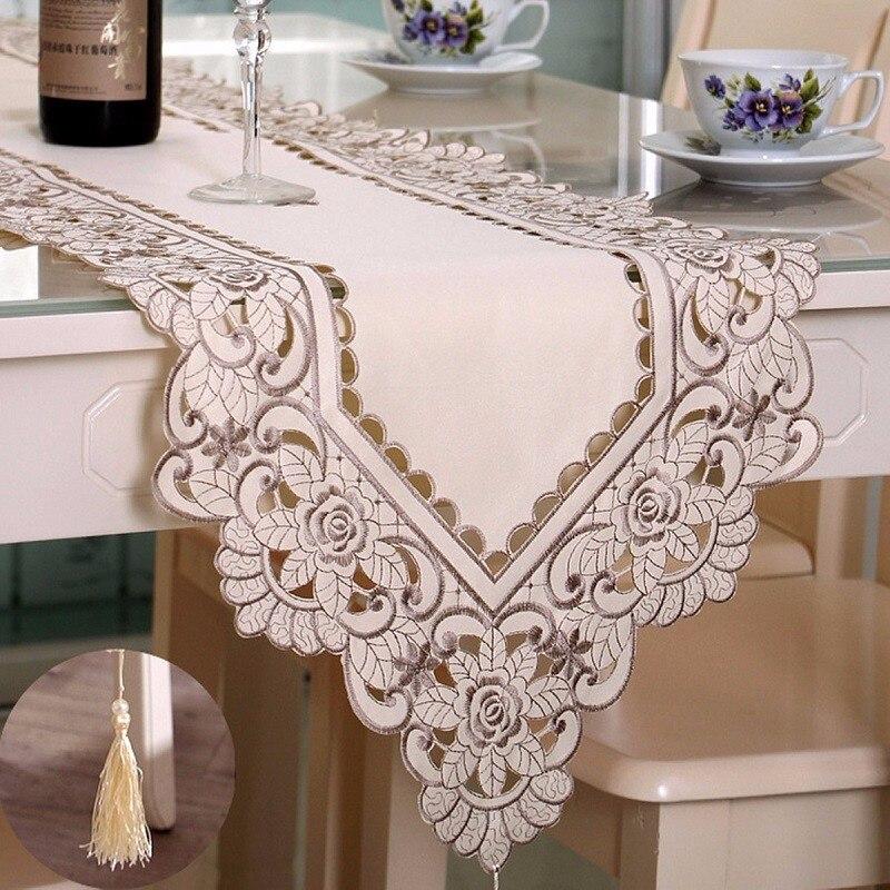 Estera de flor tapete de mesa hueca bordado Pastoral mantel calado Floral cubre rectángulo flor tapete de mesa s