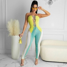 Fashion Sleeveless Contrast Color Front Lacing Hollow Out Jumpsuits Casual Women Summer Clothing Par