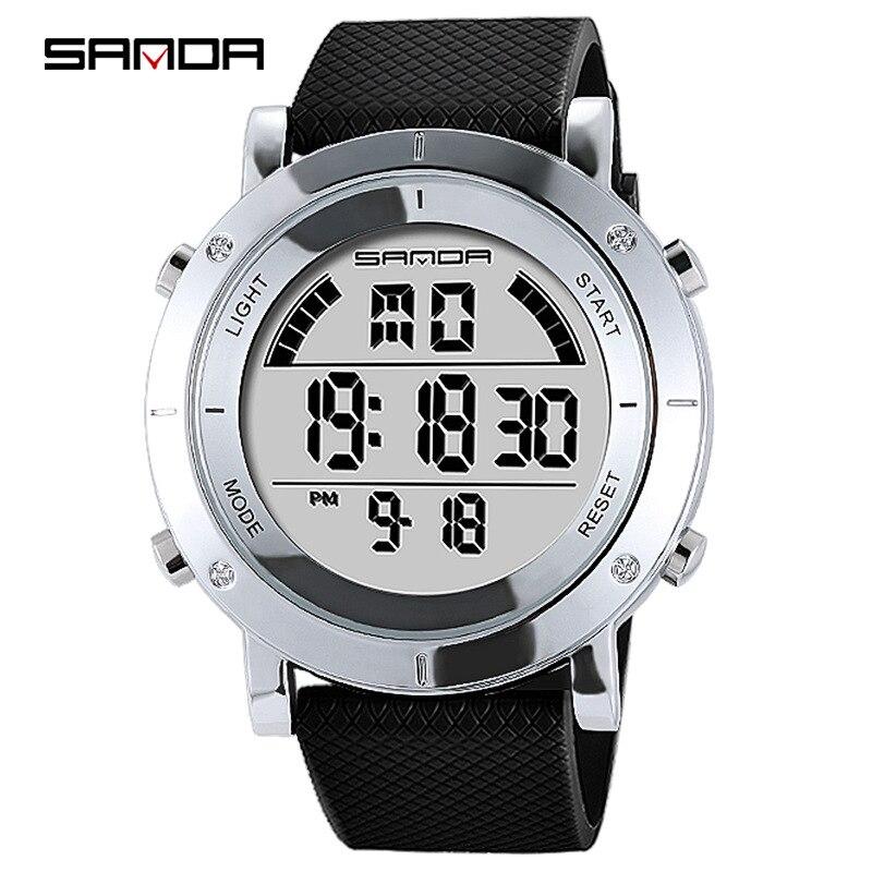 SANDA Fashion Outdoor Sport Watch Men Multifunction Watches Alarm Clock Chrono 3Bar Waterproof Digital Watch reloj hombre 440  - buy with discount