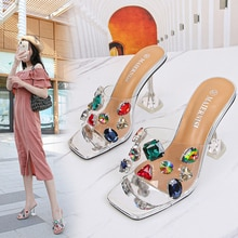 Summer New Women Shoes Square Toe Rhinestone Sandals Diamante High Heels Peep Toe Ladies Shoes Silve